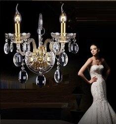 Luksusowa tarcza K9 kryształy przezroczyste złoto kryształowa ściana lampa świeca 1/2/3 E14 żarówki głowice abażury obok łóżka światło do pokoju|light desire|lightlight up party cups -