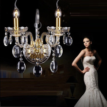 Luxury top K9 crystals transparent gold Crystal Wall Lamp Candle 1/2/3 E14 Bulbs heads lampshades beside bed room light