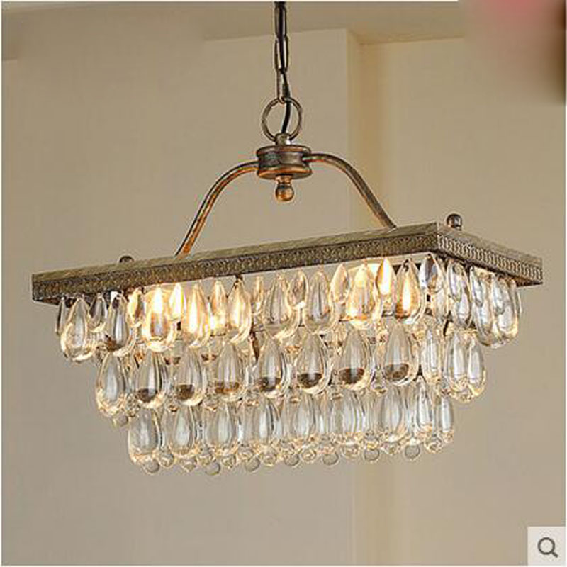 American style k9 crystal chandelier rectangular aisle restaurant staircase European style bar led retro minimalist iron lamps