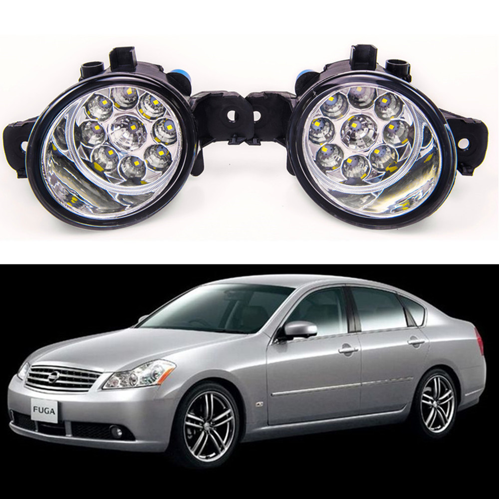 For NISSAN Fuga 2004-2009 Car styling front bumper LED fog Lights high brightness fog lamps 1set for lexus rx gyl1 ggl15 agl10 450h awd 350 awd 2008 2013 car styling led fog lights high brightness fog lamps 1set