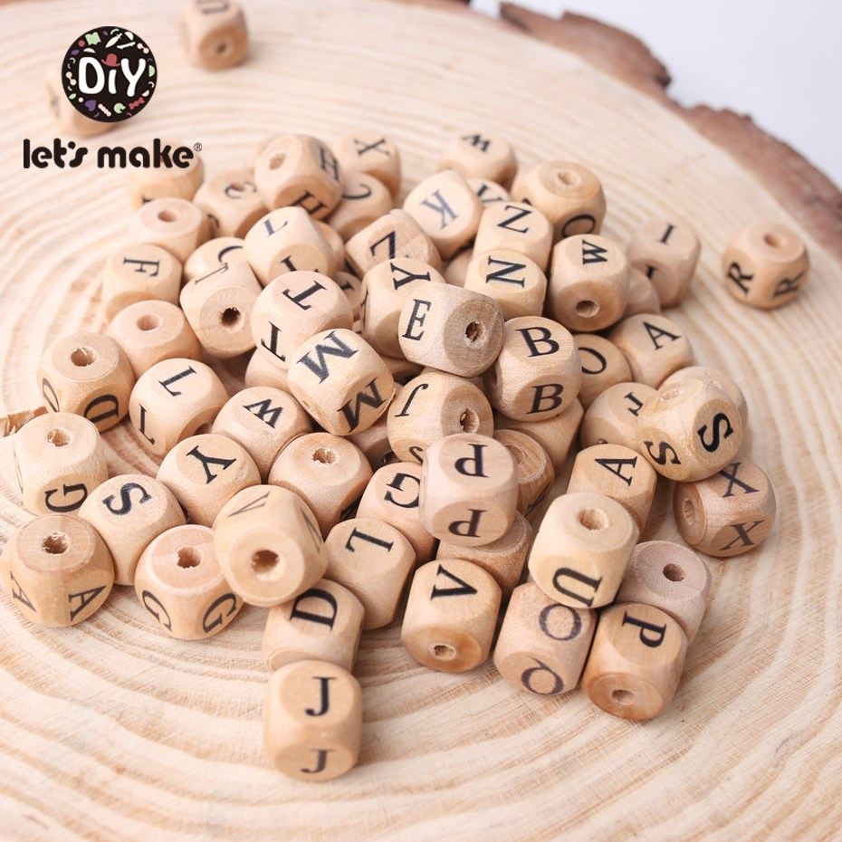 Let'S Make Wooden Teether 100Pc Square Shape Beech Wood Letter Beads Diy Pacifier Chain Teether For Babies Teething Bead Kid Toy