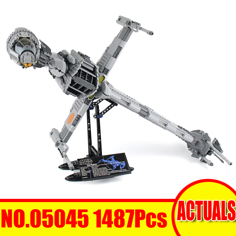 1487Pcs 05045 Lepin Star Wars Model Building Kit The B-wing Starfighter Set Blocks Bricks Toy For Children Gift Compatible 10227 new lepin 16009 1151pcs queen anne s revenge pirates of the caribbean building blocks set compatible legoed with 4195 children