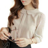 Women Peter Pan Collar Chiffon Blouses Hollow Out Long Sleeve Lace Crochet Shirts Cute Women Tops
