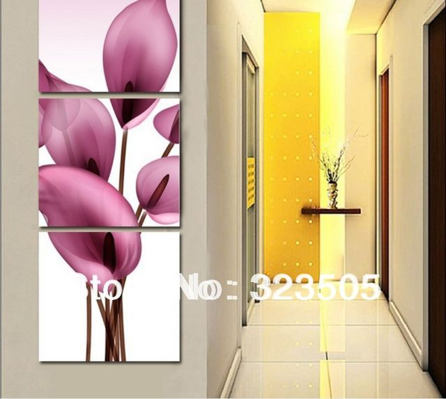 3 panel canvas wall art Modern abstract floral painting hand painted ...