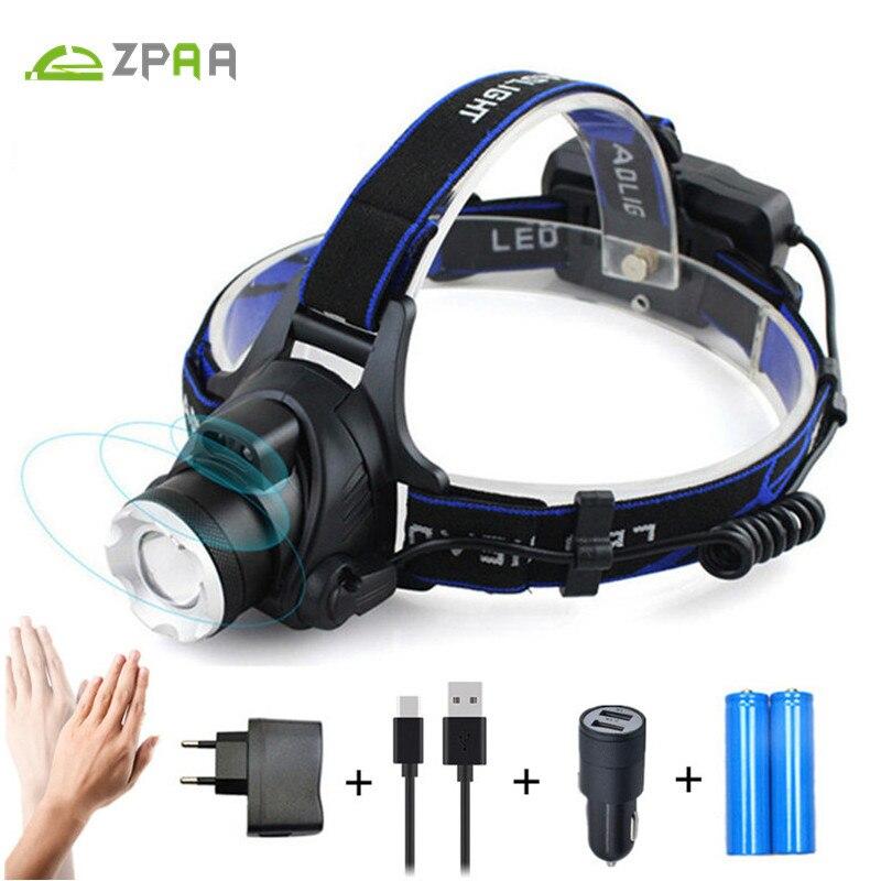 ZPAA LED Del Faro Del Faro del Sensore di Movimento di Alluminio 5000lm Zoom T6 L2 Testa Torcia Lampada 18650 Luce Anteriore per Pesca Caccia