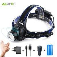 ZPAA LED Headlamp Headlight Motion Sensor Aluminum 5000lm Zoom T6 L2 Head Flashlight Lamp 18650 Front