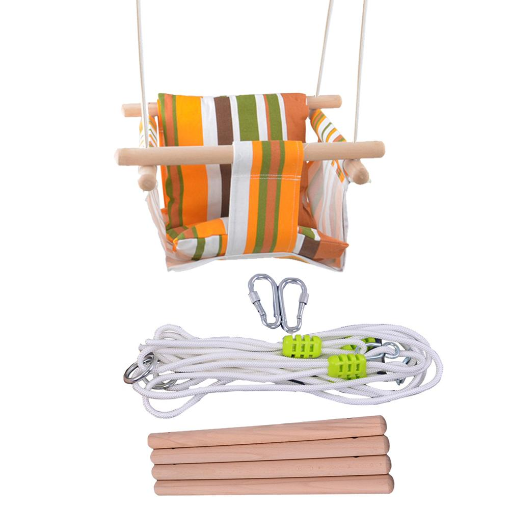 Baby Safety Swing Chair Hanging Swings Set Children Toy Rocking Solid Wood Seat with Cushion for Baby Indoor Room Decor цены
