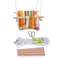Baby Safety Swing Chair Hanging Swings Set Children Toy Rocking Solid Wood Seat with Cushion for Baby Indoor Room Decor