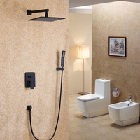 Wall Mounted Brass Valve Shower Set Matte Black Color 8 10 12 16 Inch Stainless Steel