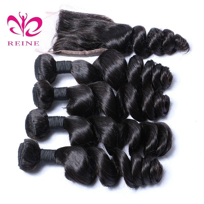 4 πακέτα με κλείσιμο χαλαρό κύμα - Ανθρώπινα μαλλιά (για μαύρο) - Φωτογραφία 2