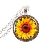 Sunflower Art Necklace Resin Pendant Summertime Flower Leather Pendant Charm Yellow Accessory Wholesale