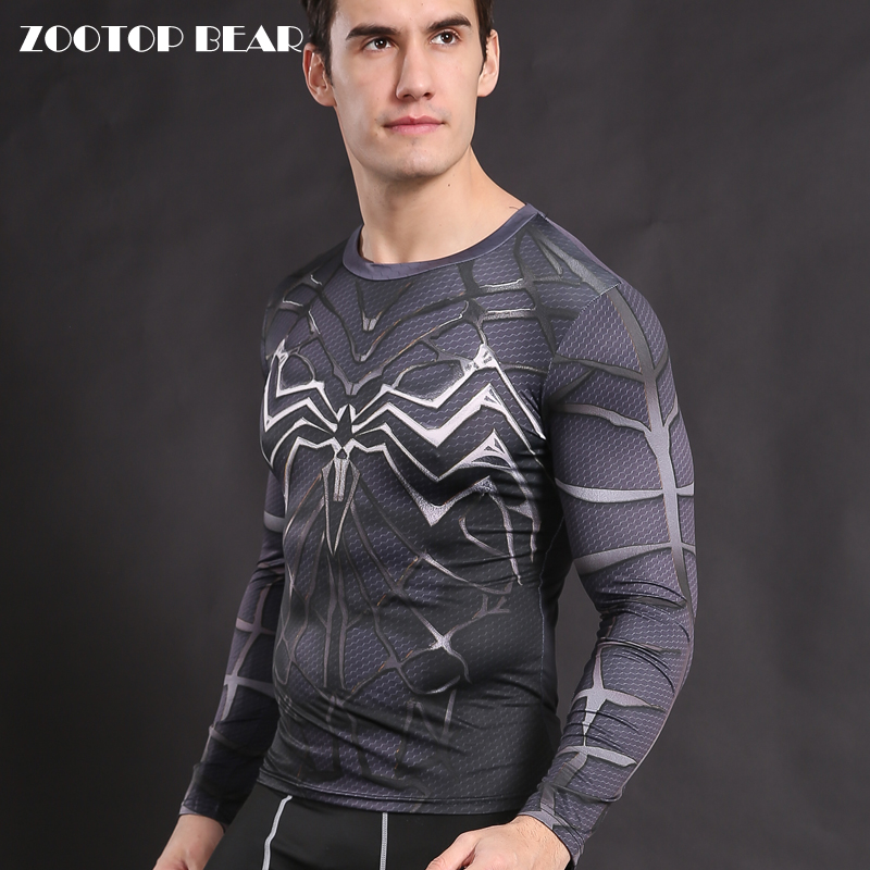 Venom T shirts Men Armor Spiderman T-shirt Compression Tights Shirt Crossfit Clothing Fitness Top Male Tess Elastic ZOOTOP BEAR