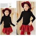 Малыш Девушки водолазка оборками свитера больше девушка черный хлопок кардиган дети осень зима теплая свитер малышей девушка одежда