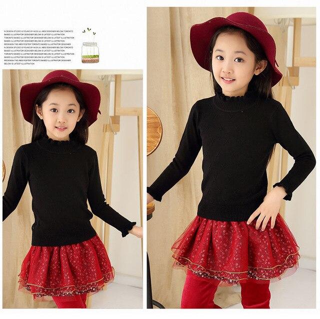 Kid Girls turtleneck ruffles sweaters bigger girl black cotton cardigan children autumn winter warm sweater toddler girl clothes