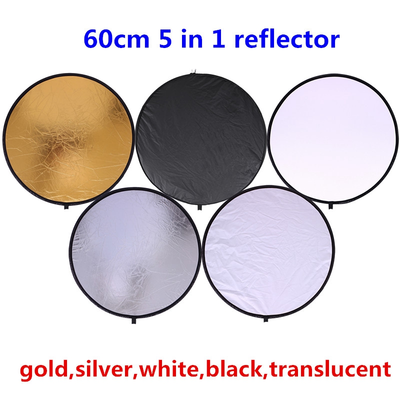 "CY 24 ""60cm 5 in 1 High quality handhold Portable Collapsible Light Round Reflector Photography for Studio Multi Photo Disc"