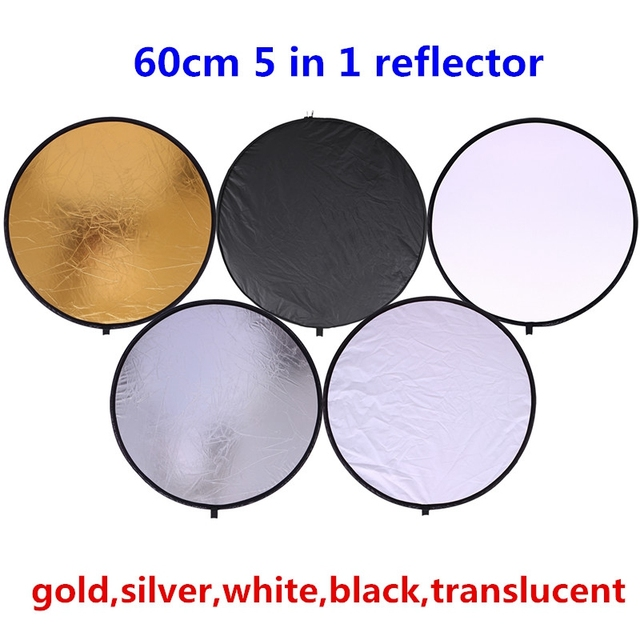 """CY 24"""" 60cm 5 in 1 High quality handhold Portable Collapsible Light Round Photography Reflector for Studio Multi Photo Disc"""