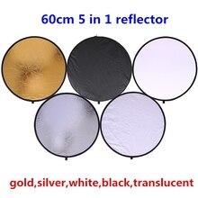 """CY Reflector redondo de luz plegable portátil 5 en 1 para estudio, Reflector de Fotografía 5 en 1 de 24 """"y 60cm, de gran calidad"""