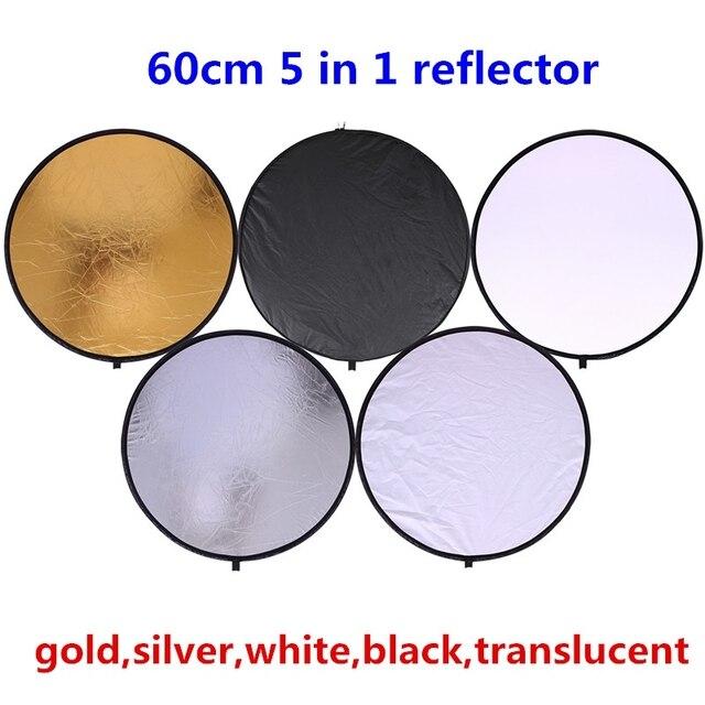"""Cy 24 """"60 cm 5 in 1 Hoge kwaliteit houvast Draagbare Inklapbare Licht Ronde Fotografie Reflector voor Studio Multi Photo Disc"""