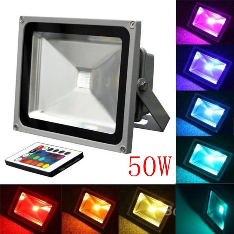 Wholesale 50W RGB Color Changing Led Flood Light Landscape Lights  AC85-265V IP65 Outdoor Decorative Lamps Remote Controller ultrathin led flood light 200w ac85 265v waterproof ip65 floodlight spotlight outdoor lighting free shipping
