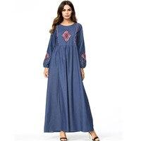 c8d1f816cb 2019 Women Retro Ethnic Denim Maxi Dress Plus Size 4XL Embroidery Loose  Muslim Abaya Spring Autumn