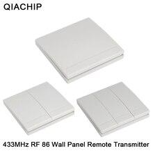 QIACHIP 86 벽 패널 스위치 1CH 2CH 3CH 무료 스티커 벽 패널 원격 제어 스티커 어디서나 송신기 1 2 3 버튼 수신