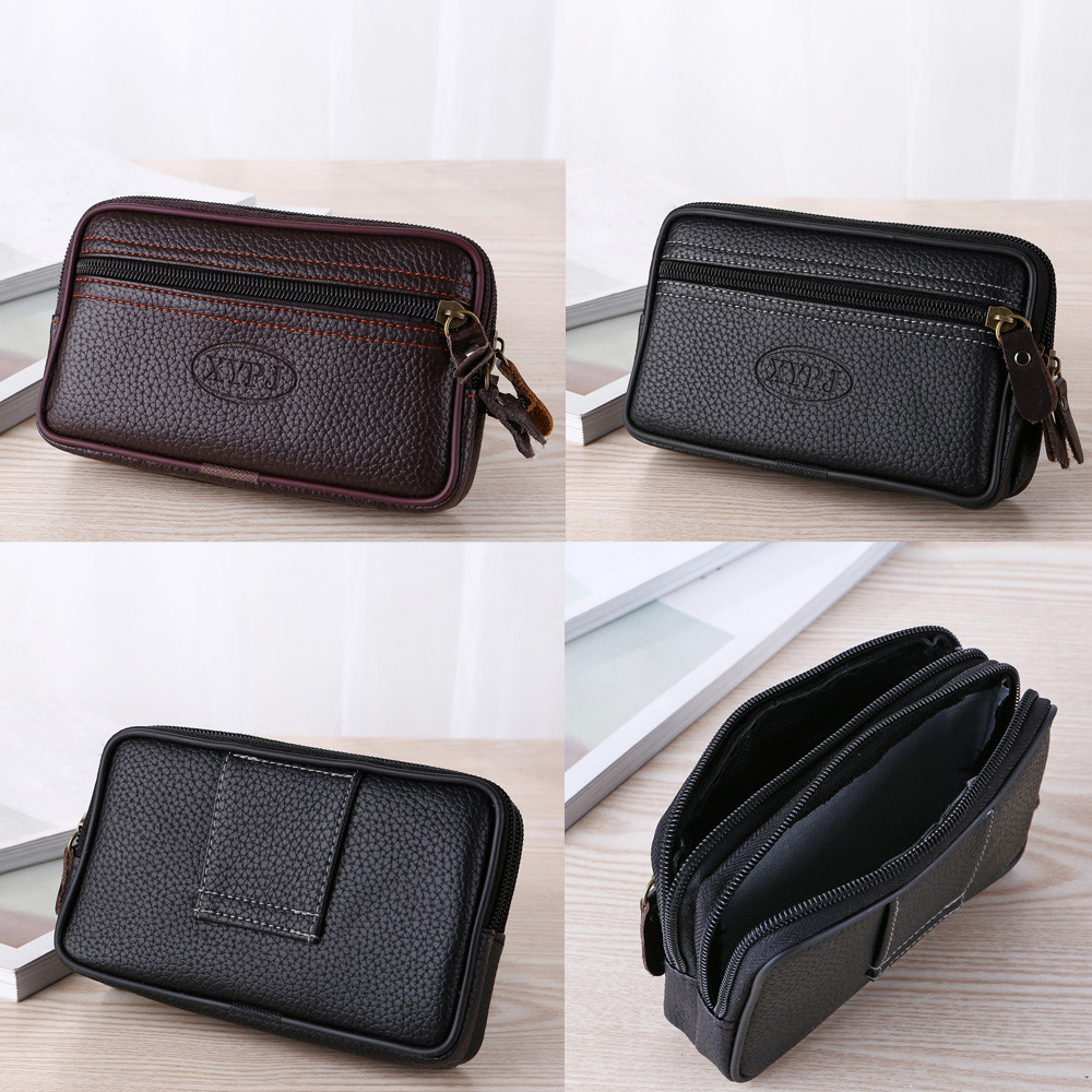 Men Solid Zipper Wallets Vintage Men Pure Color Leather Messenger Bag Coin Phone Bag Clutch Waist Bag Business Long Wallet