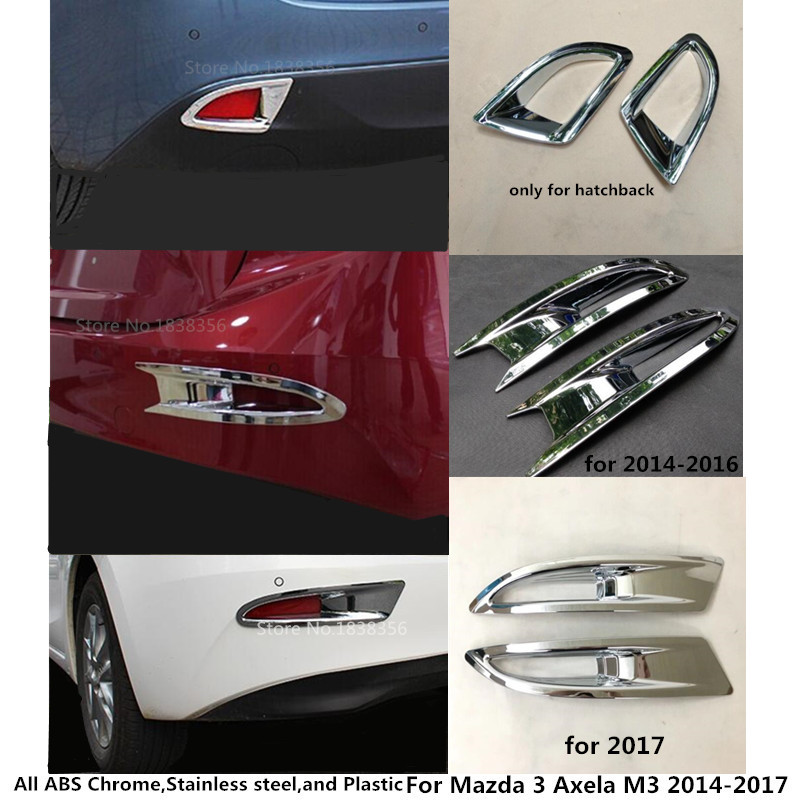 S.Steel rear Fog Light lamp cover trim Chrome Mazda3 hatchback 2014 2015 2016