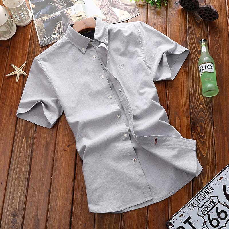 AFS JEP 2017 Summer Men's Cotton Shirts Tops Solid Color Short Sleeve Shirts Fashion Simple Breathable Casual shirts