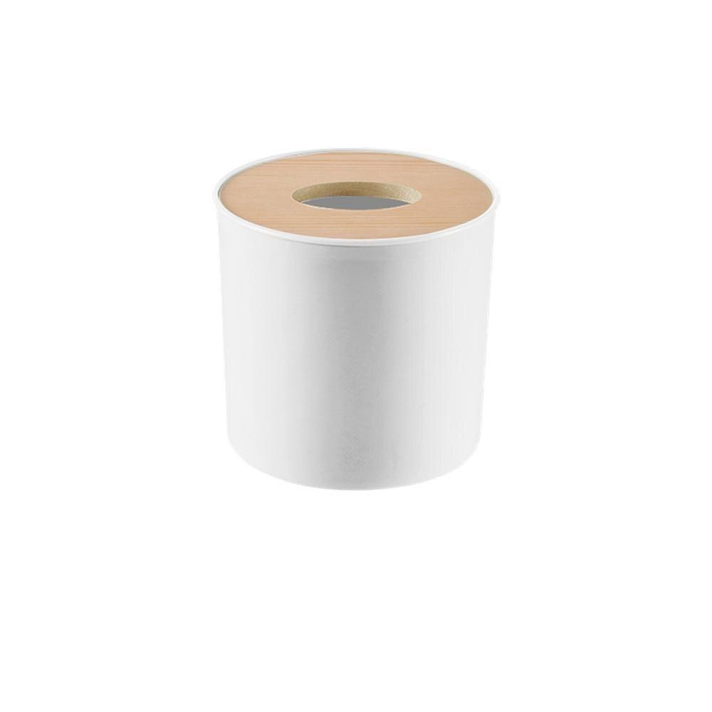 Новинка, деревянная крышка, автомобильная пластиковая коробка для салфеток, держатель, кухонная коробка для хранения, офисная, домашняя, органайзер, Настольная коробка для салфеток с телефонной полкой - Цвет: Round