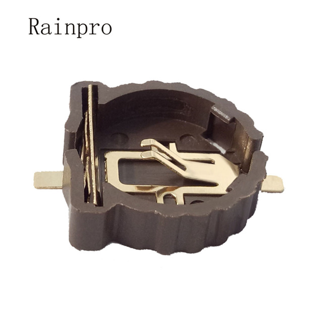 Rainpro 10PCS/LOT BS 1220 2  CR1220  CR1225 3V button battery holder SMD package gold plating