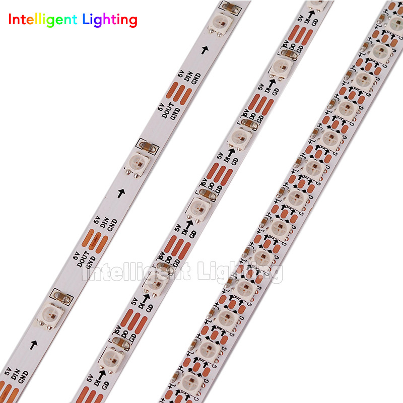 1m/2m SK6812 <font><b>SMD</b></font> 3535/5050 RGB pixel strip 30/60/144 <font><b>leds</b></font>/m build-in SK6812 IC <font><b>4mm</b></font>/5mm/7.2mm width, White PCB IP30 DC5V image