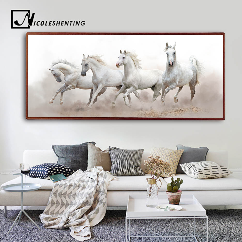 Animals White Horse Wall Art Canvas Posters and Prints Landscape ...