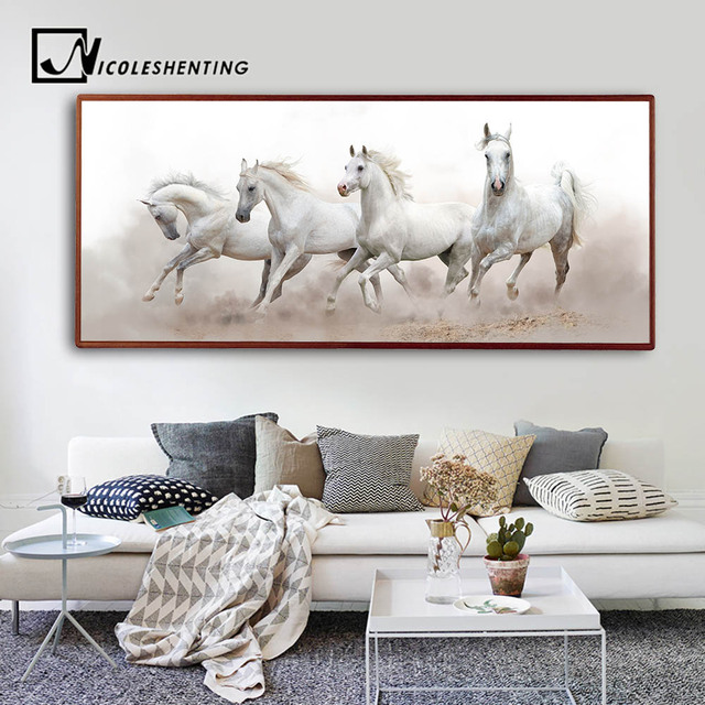 Animals White Horse Wall Art Canvas Posters and Prints Landscape Canvas Painting Long Wall Picture for  sc 1 st  AliExpress.com & Animals White Horse Wall Art Canvas Posters and Prints Landscape ...