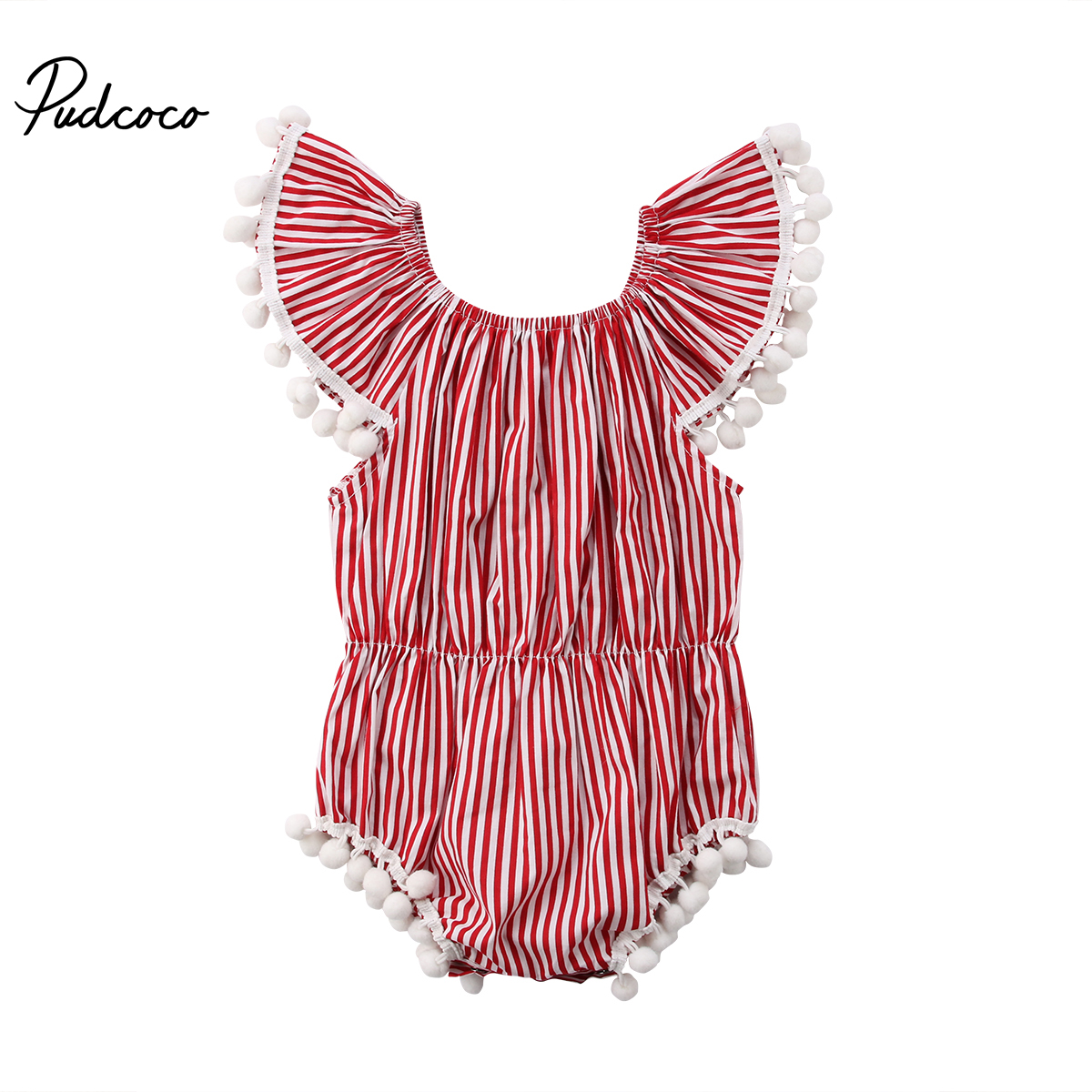 2018 New Kids Baby Girls Rompers Infant Baby Striped Off Shoulder Romper Sleeveless Jumpsuit Outfits Clothes 2017 summer toddler kids girls striped baby romper off shoulder flare sleeve cotton clothes jumpsuit outfits sunsuit 0 4t