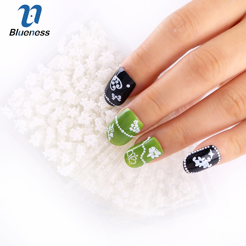 24 Pcs/Lot Beauty White Different Design Glitter 3D Stickers For Nails Diy Nail Art Decorations Tool For Manicure free wholesale