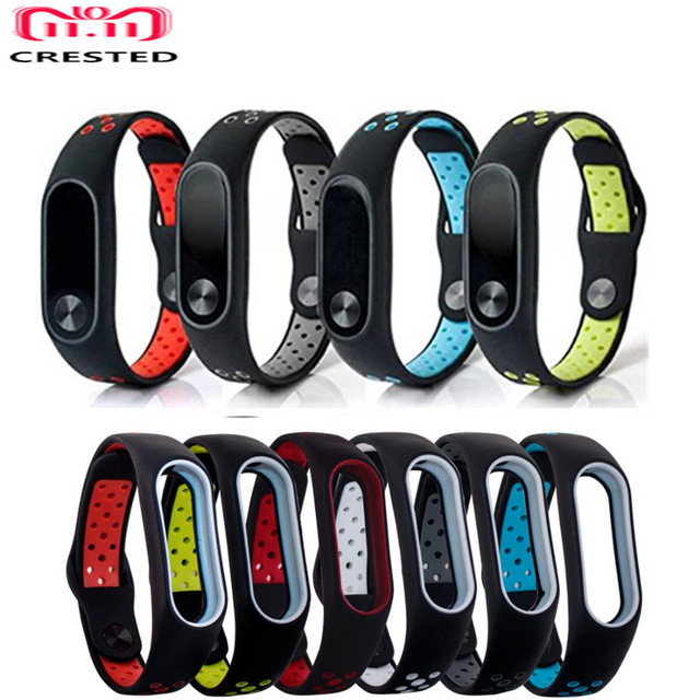 CRESTED Silicone sport Bracelet For Xiaomi Mi Band 2 Nike Strap Replacement Wris