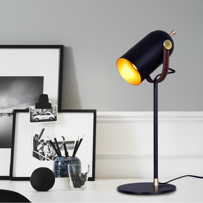 Креативная черная железная настольная лампа для спальни гостиной прикроватная тумбочка для ЕС/США/saa Разъем E27 led регулируемые черные хип хоп настольные лампы старинная настольная лампа - 3