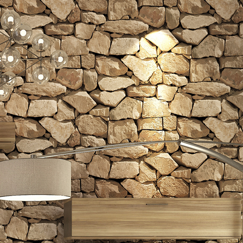 Image 3 - Waterproof Vintage 3D Stone Effect Wallpaper Roll Modern Rustic Realistic Faux Stone Texture Vinyl PVC Wall Paper Home Decor-in Wallpapers from Home Improvement