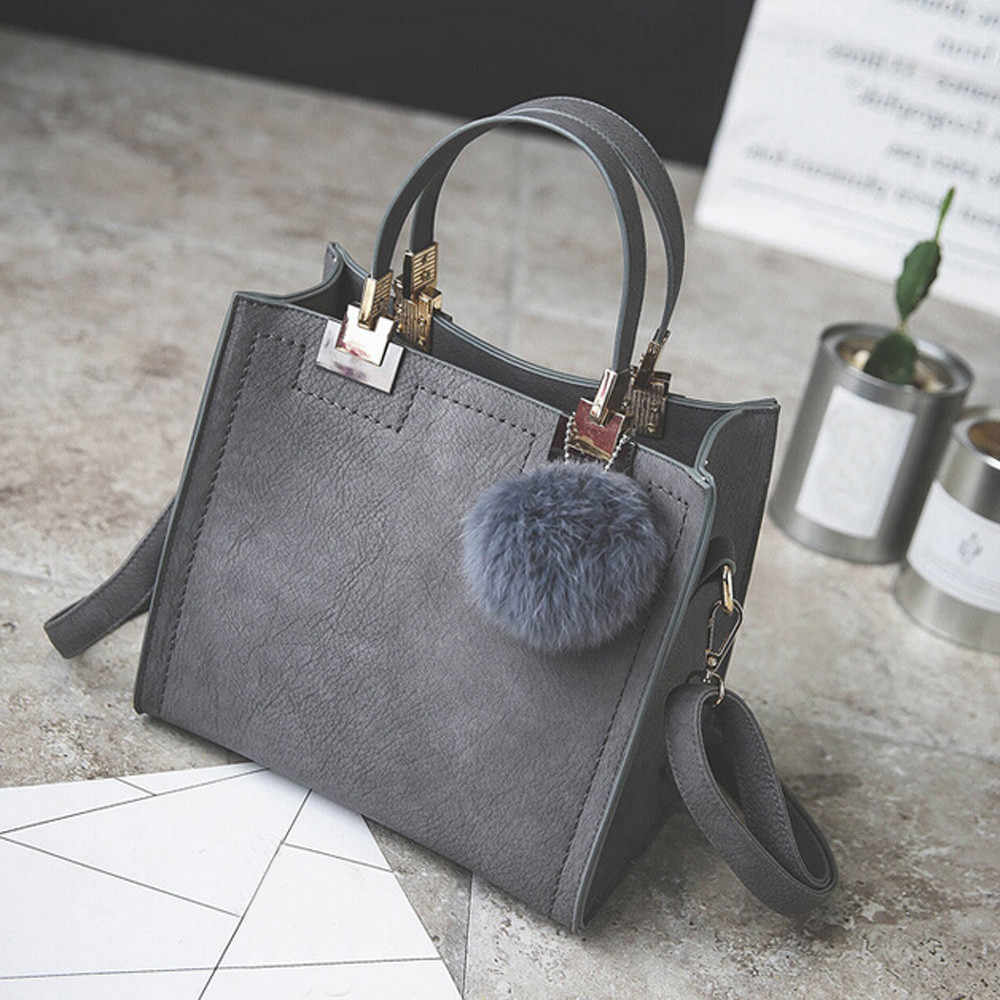 Handbag women shoulder bag luxury handbags women bags designer High-grade Scrub leather messenger bag Hairball women bag #Zer