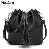 Huasign PU Leather Tassel Handbag Cheap Crossbody Handbags Organizer Small Cute Bucket Bag Lady Messenger Women