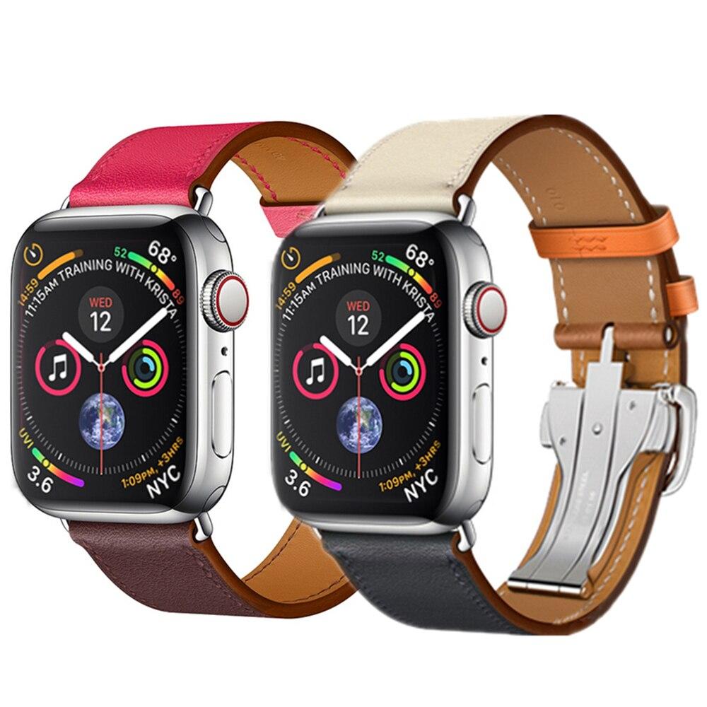 все цены на Deployment Buckle strap For Apple watch band 44mm 40mm 42mm 38mm bracelet Leather watcband for iwatch 4/3/2/1 clock wrist belt онлайн