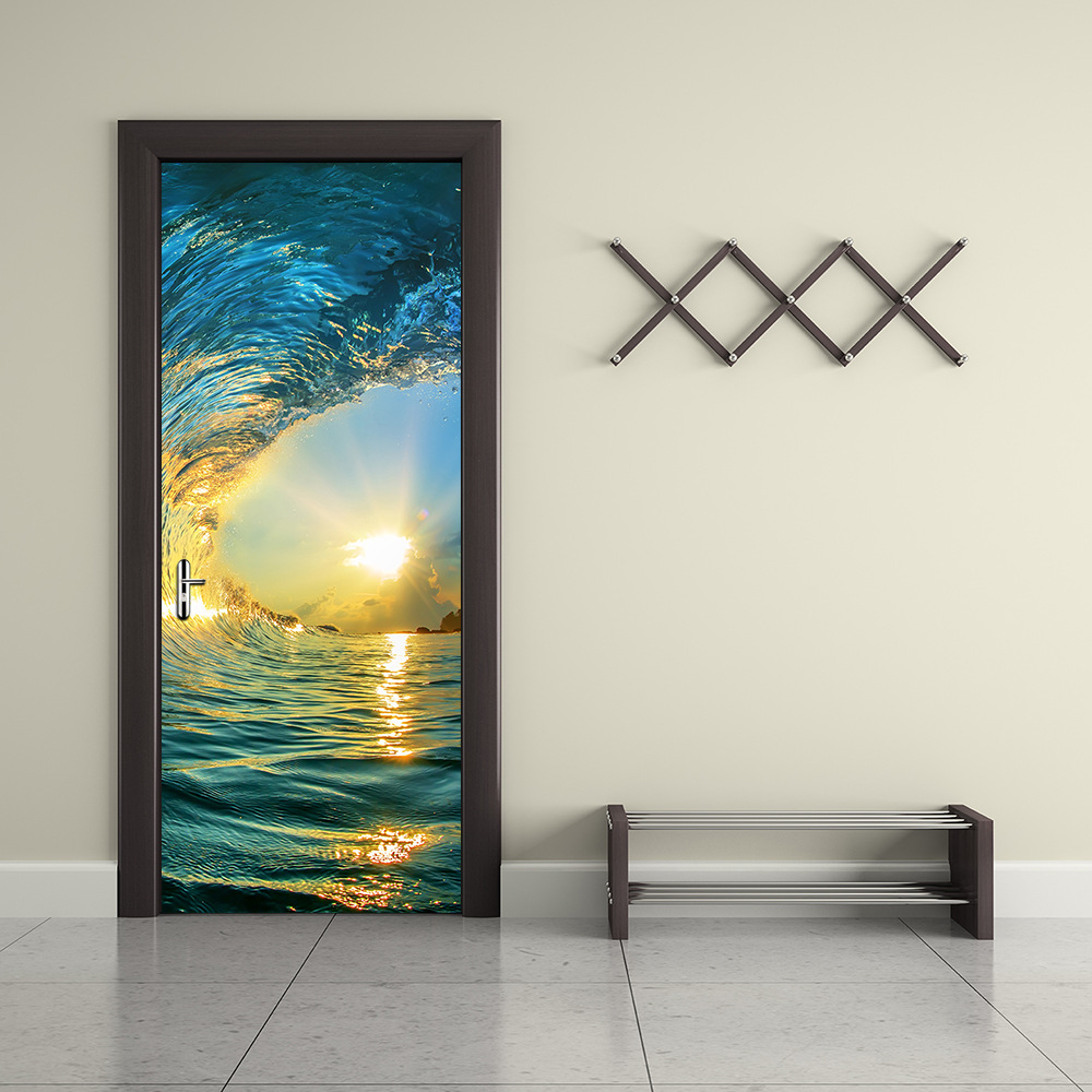 3D Novelty Ocean Wave&Waterfall Door WallPaper Wall Sticker Design Colorful Art Mural Door Picture iving Room Home Decoration