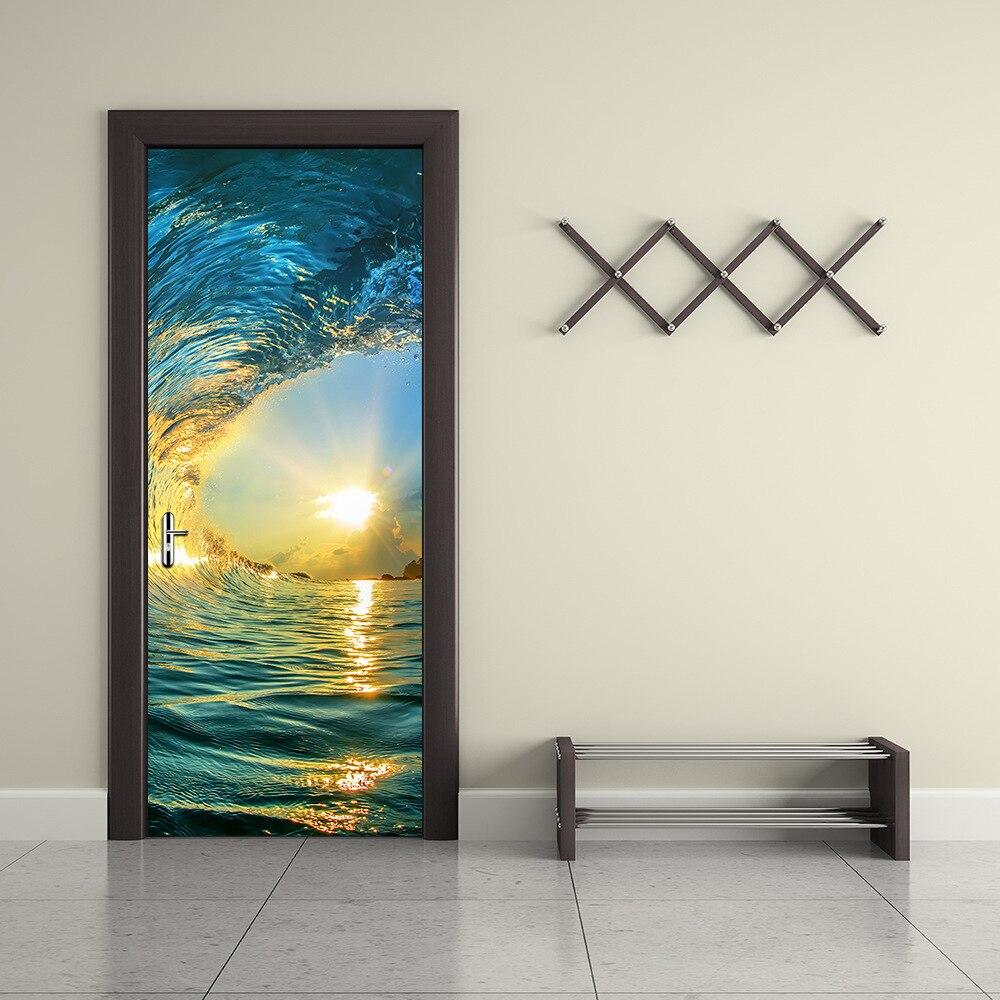 3D novedad Ocean Wave y Cascada puerta WallPaper etiqueta de la pared diseño colorido arte Mural imagen puerta iving Room decoración del hogar