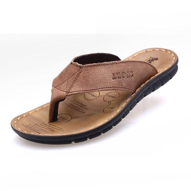 2019 Summer Shoes Men Slippers Genuine Leather Beach Slippers Mens Flip Flop Sandals Summer Man Shoes Male Flip Flops KA673 1