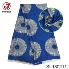 Multi color digital printed silk fabric fashionable nigerian design african wax material for dress SI180211
