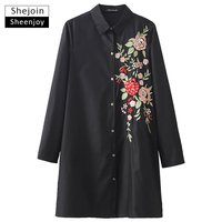 ShejoinSheenjoy Fashion Vintage Floral Embroidery Shirt Dress Women Turn Down Collar Long Sleeve Casual Mini Black