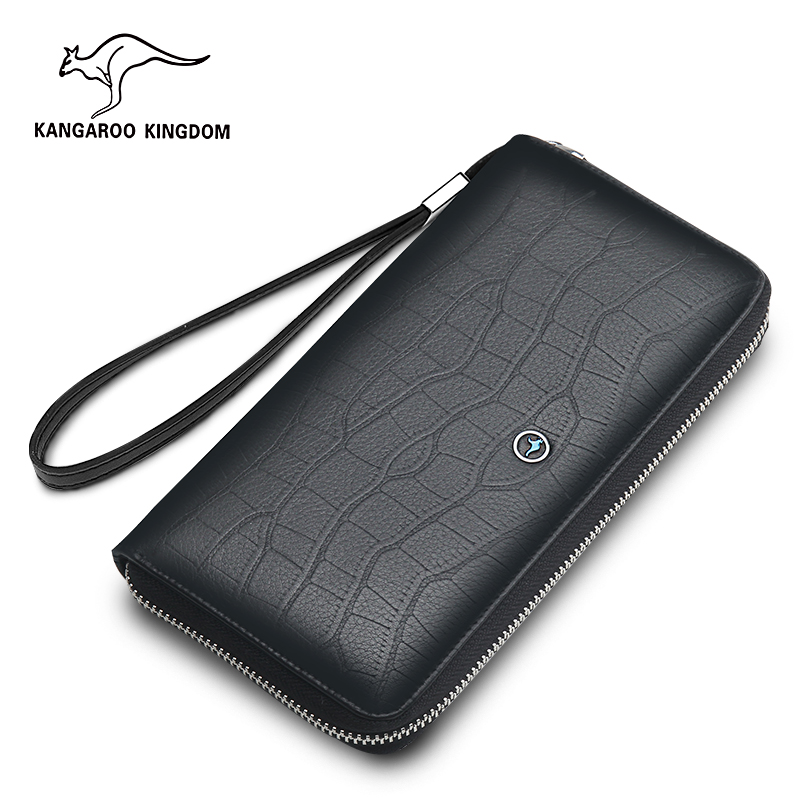 купить KANGAROO KINGDOM luxury fashion men wallets genuine leather long zipper wallet business men clutch purse по цене 4066.25 рублей