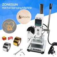 ZONESUN 110v 220v Manual Adjustable Temperature Plat Hot Foil Leather Printer Embossing Pressing Logo Machine