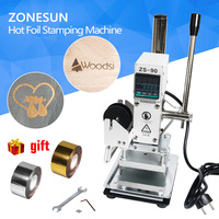 ZONESUN 110v 220v Manual Adjustable Temperature Plat Hot Foil Leather Printer Embossing Pressing Logo Machine