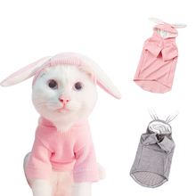 Cute Pet Dog Clothes Rabbit Ear Pets Cats Clothing For Overalls Knitted Small Medium Dogs Costume